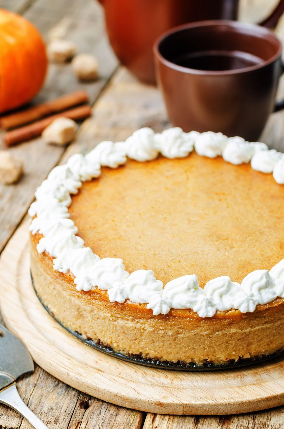 "<p>Give your usual pumpkin pie an indulgently creamy makeover. </p><p><em><a href=""https://www.goodhousekeeping.com/food-recipes/a8416/pumpkin-cheesecake-pie-ghk1107/"" rel=""nofollow noopener"" target=""_blank"" data-ylk=""slk:Get the recipe for Pumpkin Cheesecake Pie »"" class=""link rapid-noclick-resp"">Get the recipe for Pumpkin Cheesecake Pie »</a></em> </p>"