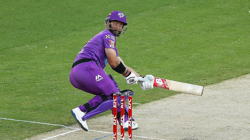 Seen here, Matthew Wade plays a shot down the leg side in the BBL match against the Sixers.