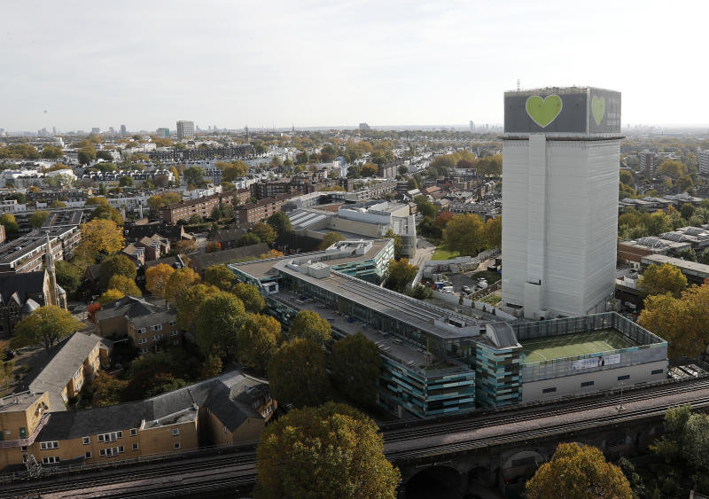 The Grenfell Tower in London, Wednesday, Oct. 30, 2019. London's fire commissioner on Wednesday defended her department's response to the June 2017 inferno that killed 72 people at Grenfell Tower after an official inquiry said more lives could have been saved if firefighters had not told the building's residents to stay in their apartments for so long. (AP Photo/Frank Augstein)