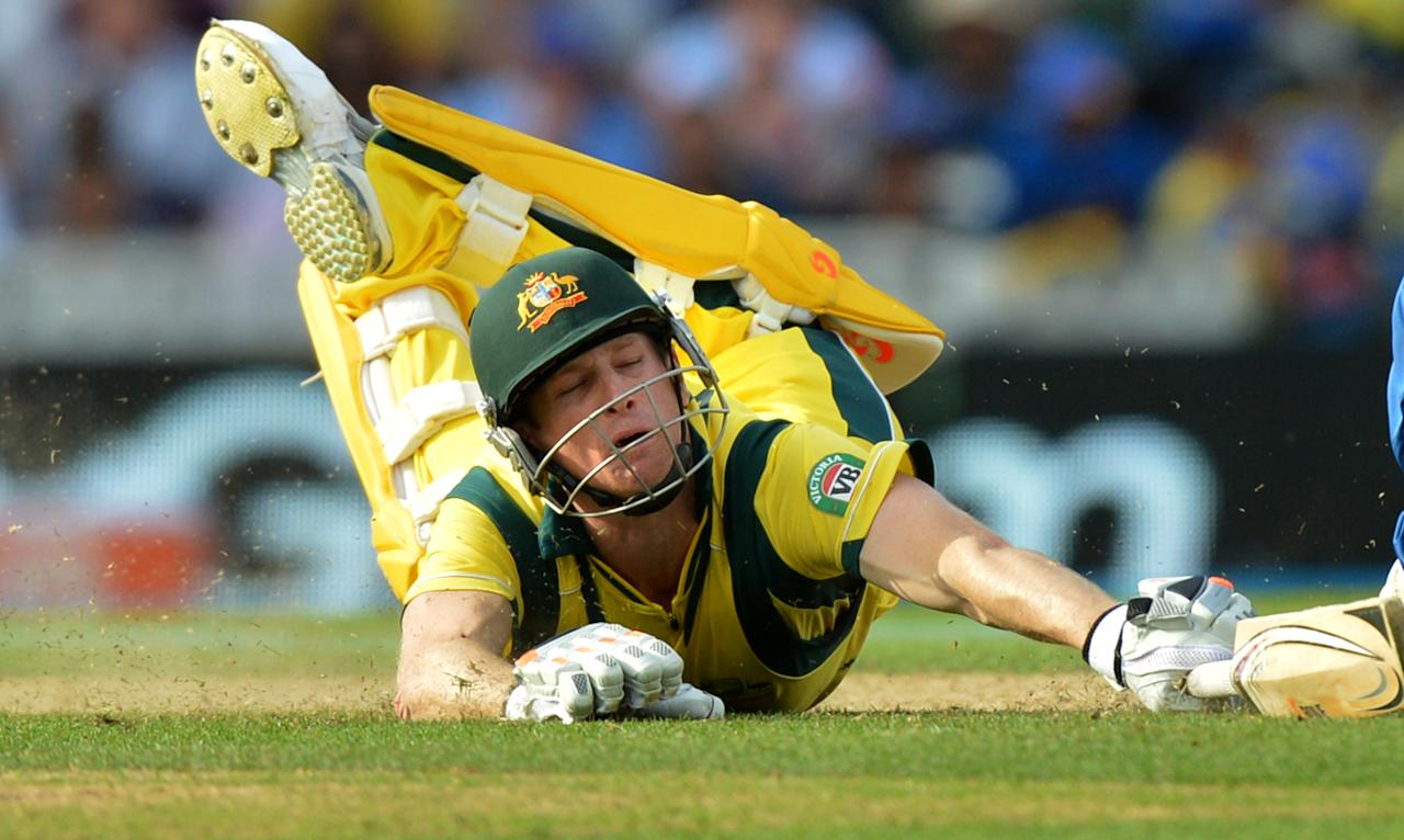 Australia's Alan Voges dives to avoid a run-out during the ICC Champions Trophy match at The Oval, London.
