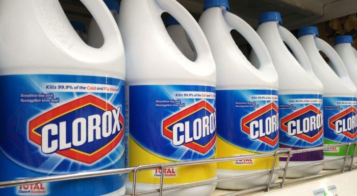 Clorox (CLX) bleach bottles lined up on a store shelf.