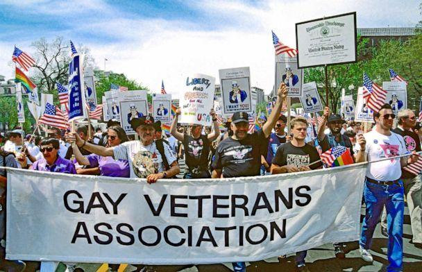 PHOTO: Members of the Gay Veterans Association march past the White House and down Pennsylvania Ave onto the National Mall in Washington, D.C., April 25, 1993.  (Mark Reinstein/Getty Images, FILE)
