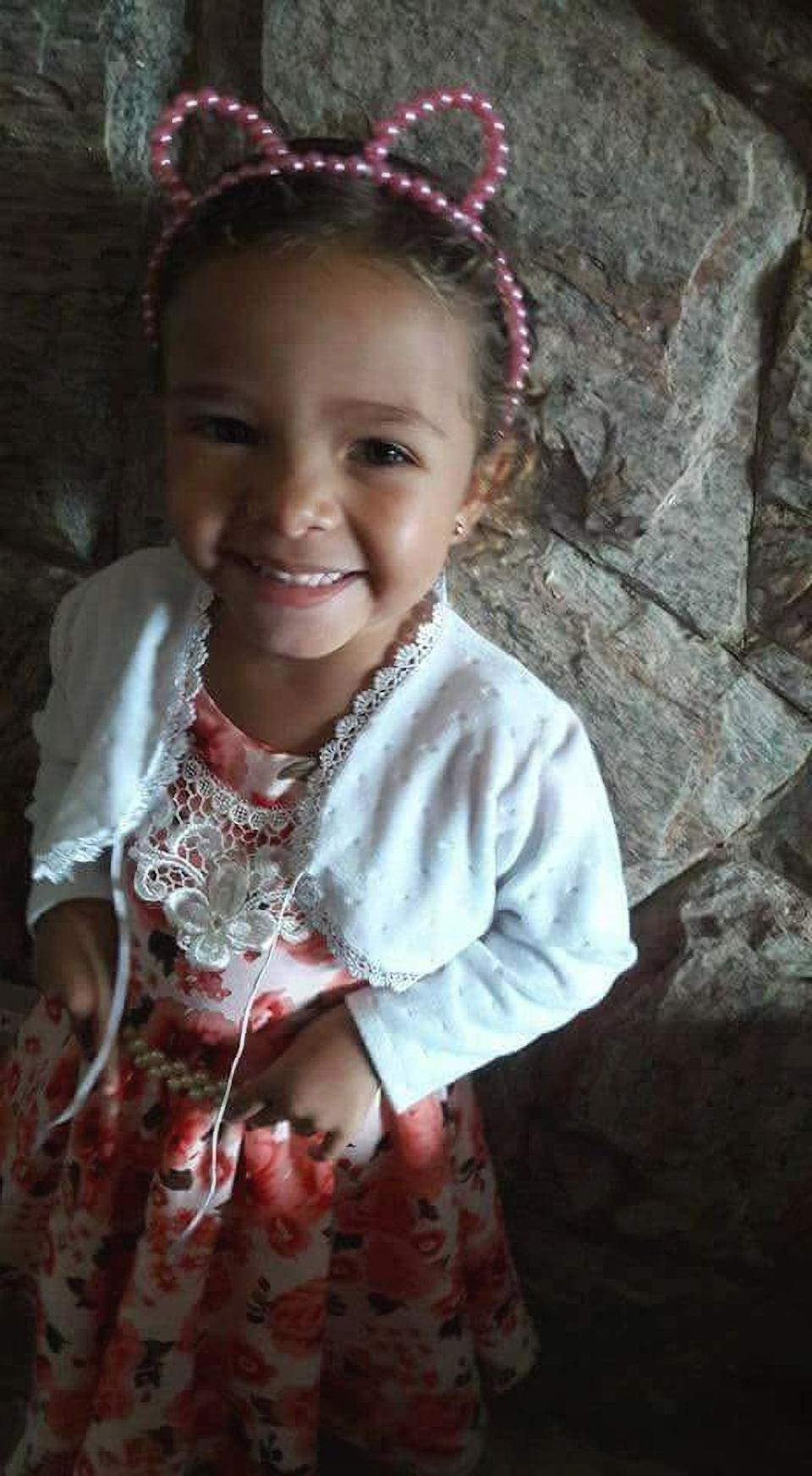 Picture shows the victim Ana Livia Lopes da Silva (3) who was subjected to a series of violent beatings by her stepfather for wetting the bed in Pocos de Caldas, Brazil, in June 2018. Newsflash/australscope