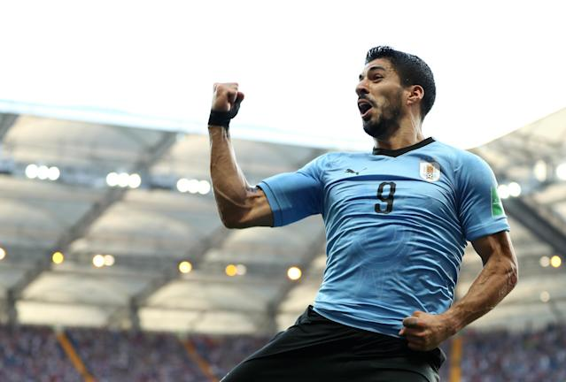 Luis Suarez of Uruguay celebrates after scoring his team's first goal during the 2018 FIFA World Cup Russia group A match between Uruguay and Saudi Arabia at Rostov Arena on June 20, 2018 in Rostov-on-Don, Russia. (Getty Images)