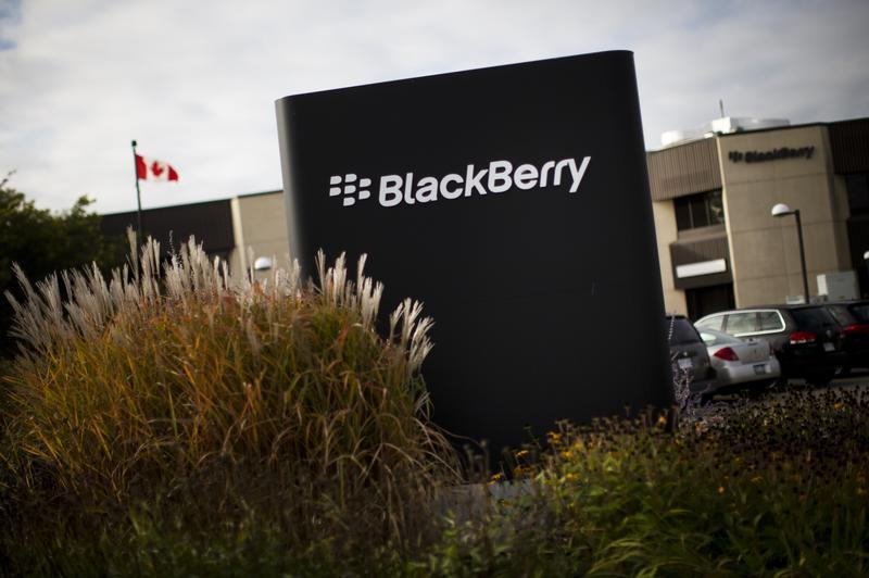 A sign is seen at the Blackberry campus in Waterloo