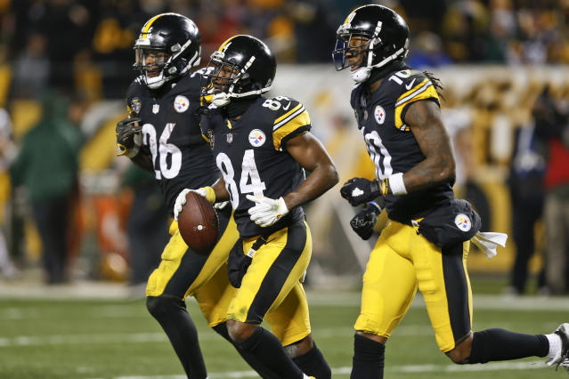 Le'Veon Bell and Antonio Brown both seem likely to relocate in 2019, to new cities and new fantasy draft rounds. (AP Photo/Keith Srakocic)