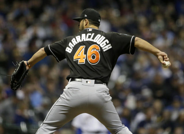 "<a class=""link rapid-noclick-resp"" href=""/mlb/players/10045/"" data-ylk=""slk:Kyle Barraclough"">Kyle Barraclough</a> could be taking over ninth inning duties in Miami. (AP Photo/Aaron Gash)"