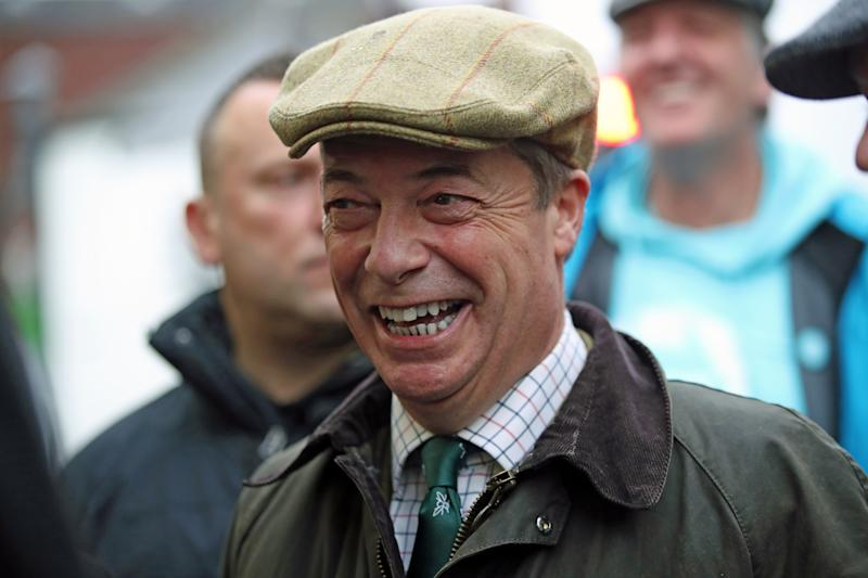 Brexit Party leader Nigel Farage meets locals in Barnsley market, during the General Election.