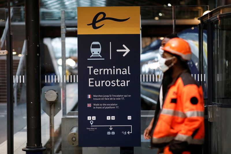 An information board is displayed at the Eurostar terminal at Gare du Nord train station in Paris