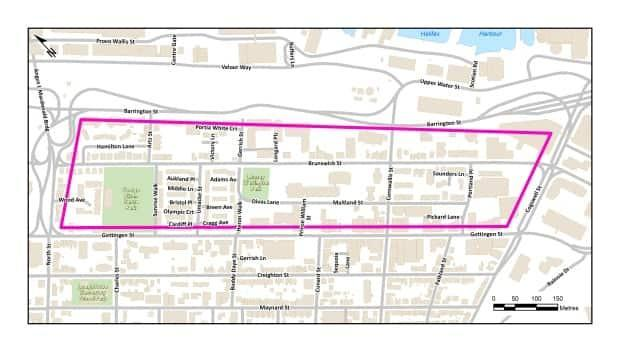 Streets with reduced speeds, including Brunswick and Maitland, are inside the highlighted area of the map.