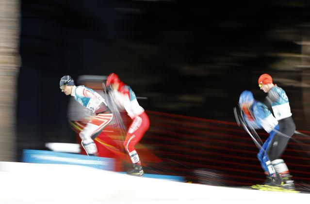 Nordic Combined Events - Pyeongchang 2018 Winter Olympics - Men's Individual 10 km Final - Alpensia Cross-Country Skiing Centre - Pyeongchang, South Korea - February 20, 2018 - Lukas Klapfer of Austria, Go Yamamoto of Japan, Eero Hirvonen of Finland and Vinzenz Geiger of Germany in action. REUTERS/Dominic Ebenbichler