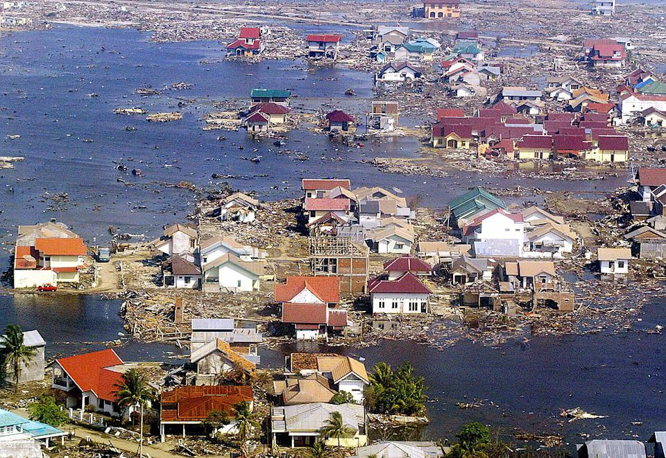An aerial picture shows the devastated area of Banda Aceh following the 2004 tsunami disaster. Source: Getty