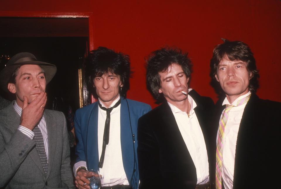 NEW YORK, NY - CIRCA 1983: Charlie Watts, Ronnie Wood, Keith Richards and Mick Jagger circa 1983 in New York City. (Photo by Robin Platzer/Images/Getty Images)