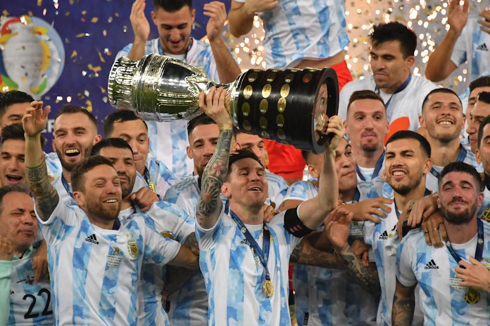 Lionel Messi lifts the Copa America for the first time. Argentina beat Brazil 1-0 in the final on Saturday night in Rio de Janeiro. (Photo by NELSON ALMEIDA/AFP via Getty Images)