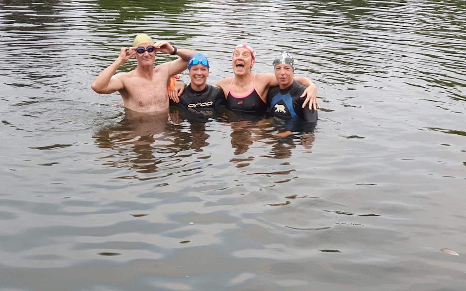 Jacquie Hughes celebrates her son Tom Dean's second gold with a 2km swim in the Thames - JACQUIE HUGHES