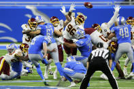 Detroit Lions kicker Matt Prater (5) boots the winning field goal with seconds remaining during the second half of an NFL football game against the Washington Football Team, Sunday, Nov. 15, 2020, in Detroit. (AP Photo/Duane Burleson)