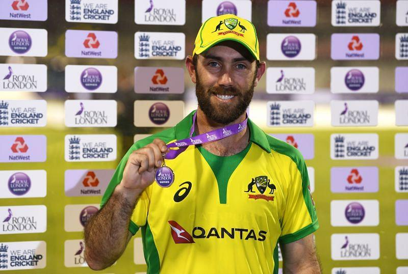 Glenn Maxwell poses with his Man of the Series award after the series against England.