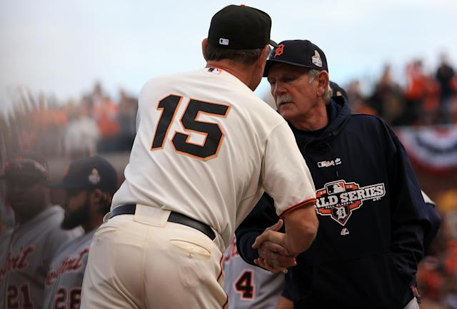SAN FRANCISCO, CA - OCTOBER 24: (L-R) Manager Bruce Bochy #15 of the San Francisco Giants shakes hands with Manager Jim Leyland #10 of the Detroit Tigers in the dugout prior to Game One of the Major League Baseball World Series at AT&T Park on October 24, 2012 in San Francisco, California. (Photo by Doug Pensinger/Getty Images)
