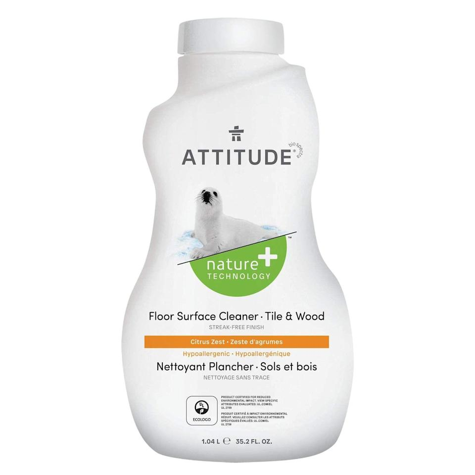 """<p><strong>Attitude</strong></p><p>attitudeliving.com</p><p><strong>$4.95</strong></p><p><a href=""""https://attitudeliving.com/products/floor-surfaces-tiles-and-wood-citrus-zest"""" rel=""""nofollow noopener"""" target=""""_blank"""" data-ylk=""""slk:BUY NOW"""" class=""""link rapid-noclick-resp"""">BUY NOW</a></p><p>Comprised of plant and mineral-based ingredients, this vegan floor-cleaner is Peta-approved and non-toxic, making it a great one-stop-shop for your wood, tile, and laminate floors. It has a mild citrus scent for a fresh smell and look that won't be overpowering and you'll be able to clean all your floors with it. </p>"""