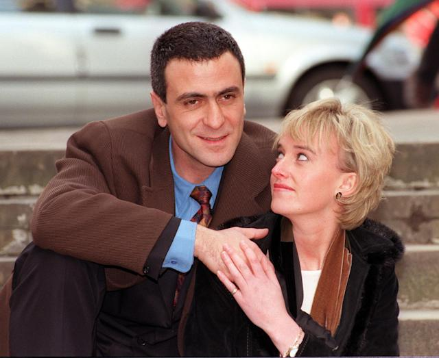Amy Seccombe and George Jackos as Diana and Dodi Fayed. (PA Images)
