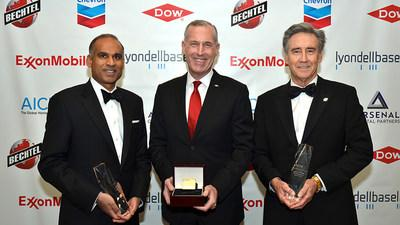 LyondellBasell CEO Bob Patel accepts an award for LyondellBasell's work to inspire the next generation of engineers from the American Institute of Chemical Engineers (AIChE) at the their 2017 gala. Additional award winners included Dow Chemical Company President and COO, Jim Fitterling and Bechtel President and COO, Jack Futcher. (L-R: LyondellBasell CEO Bob Patel; Dow Chemical Company President and COO, Jim Fitterling and Bechtel President and COO, Jack Futcher)