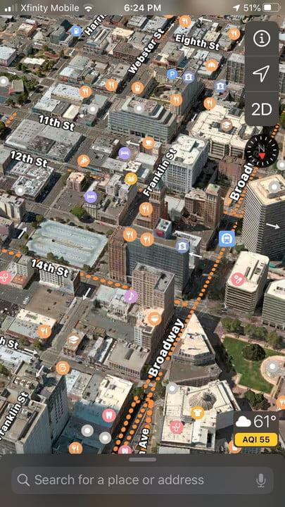 Updated Apple Maps interface
