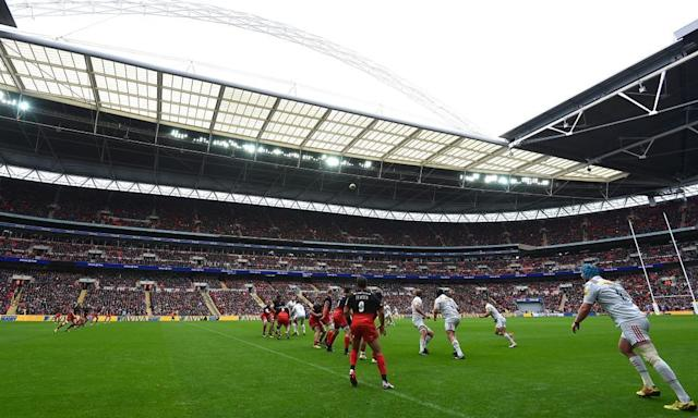 "<span class=""element-image__caption"">Saracens and Harlequins in action at Wembley last year. A crowd of around 70,000 is expected when the two teams meet again at the stadium on Saturday.</span> <span class=""element-image__credit"">Photograph: Tom Dulat - The FA/The FA via Getty Images</span>"