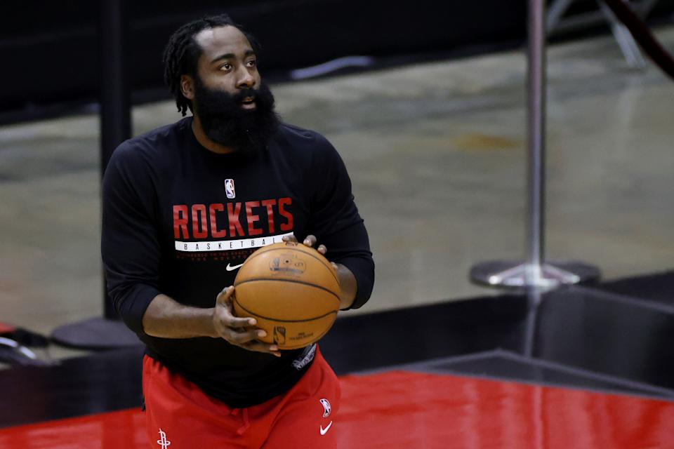 James Harden warms up prior to a game for the Rockets.