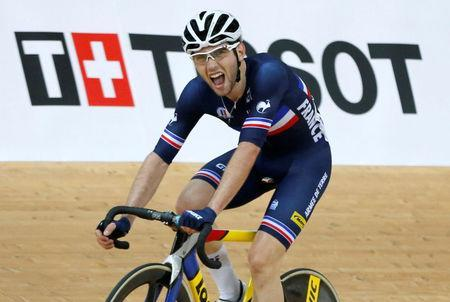 Cycling - UCI Track World Championships - Men's Omnium, Points Race - Hong Kong, China – 15/4/17 - France's Benjamin Thomas celebrates after winning gold. REUTERS/Bobby Yip