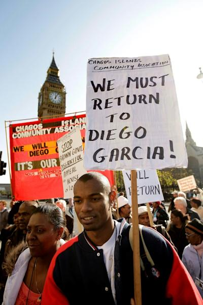 Chagos Islanders demonstrating in London, in 2008, for their return to the archipelago