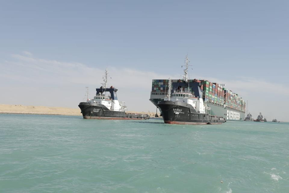 Ship Ever Given, one of the world's largest container ships, is seen after it was fully floated in Suez Canal, Egypt.