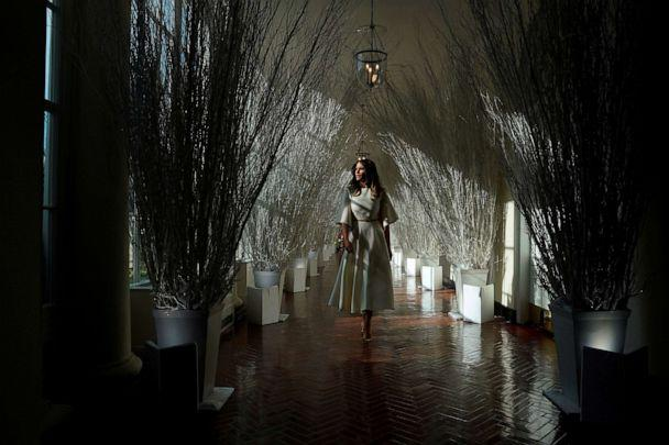 PHOTO: First Lady Melania Trump tours the holiday decorations with reporters at the White House on Nov. 27, 2017. (Jonathan Ernst/Reuters, FILE)