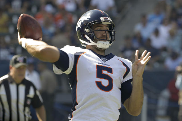 Denver Broncos quarterback Joe Flacco passes against the Los Angeles Chargers during the first half of an NFL football game Sunday, Oct. 6, 2019, in Carson, Calif. (AP Photo/Alex Gallardo)