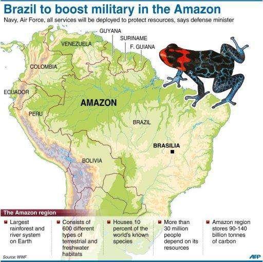 Graphic on the Amazon rainforest. Brazil will boost its military presence in the region to protect natural resources, Defense Minister Celso Amorim told the Senate Thursday