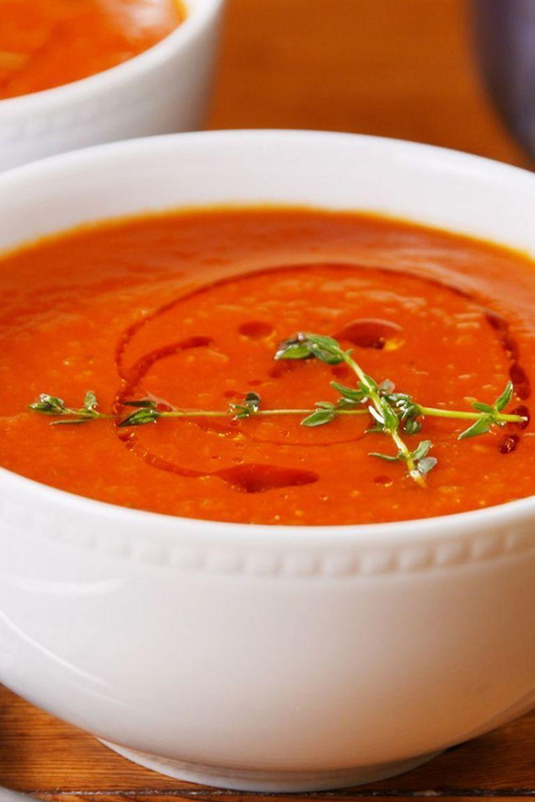 """<p>There's really nothing more comforting than a steaming hot bowl of tomato soup. We prefer using tinned tomatoes rather than fresh because they tend to be packed in peak season—that means they're perfectly ripe! </p><p>Get the <a href=""""https://www.delish.com/uk/cooking/recipes/a28784498/classic-tomato-soup-recipe/"""" rel=""""nofollow noopener"""" target=""""_blank"""" data-ylk=""""slk:Classic Tomato Soup"""" class=""""link rapid-noclick-resp"""">Classic Tomato Soup</a> recipe.</p>"""