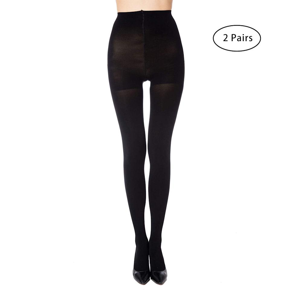 """<p>There's nothing worse than ripping a brand-new pair of tights, but that's no longer a worry thanks to these <a href=""""https://www.popsugar.com/buy/Manzi-Run-Resistant-Control-Top-Opaque-Tights-410622?p_name=Manzi%20Run%20Resistant%20Control%20Top%20Opaque%20Tights&retailer=amazon.com&pid=410622&price=14&evar1=fab%3Aus&evar9=45751751&evar98=https%3A%2F%2Fwww.popsugar.com%2Ffashion%2Fphoto-gallery%2F45751751%2Fimage%2F45751754%2FManzi-Run-Resistant-Control-Top-Opaque-Tights&list1=shopping%2Camazon%2Caccessories%2Ctights%2Cwinter%2Cwinter%20fashion&prop13=api&pdata=1"""" rel=""""nofollow"""" data-shoppable-link=""""1"""" target=""""_blank"""" class=""""ga-track"""" data-ga-category=""""Related"""" data-ga-label=""""https://www.amazon.com/MANZI-Womens-Resistant-Control-Opaque/dp/B072B64ZH3/ref=sr_1_8?s=apparel&amp;ie=UTF8&amp;qid=1549379708&amp;sr=1-8&amp;nodeID=1044886&amp;psd=1&amp;keywords=tights%2Bfor%2Bwomen&amp;th=1&amp;psc=1"""" data-ga-action=""""In-Line Links"""">Manzi Run Resistant Control Top Opaque Tights</a> ($14 for two).</p>"""