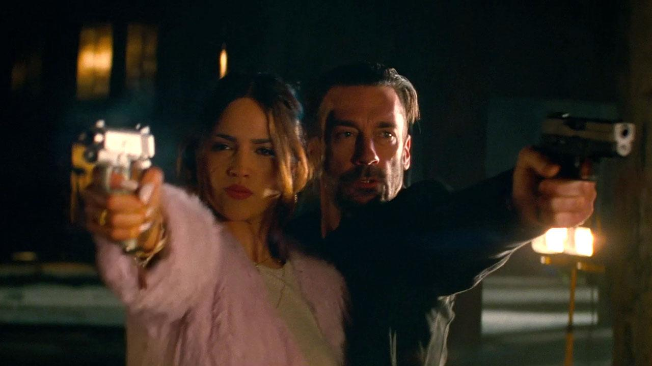 Eiza González and Jon Hamm in 'Baby Driver' (Sony Pictures)