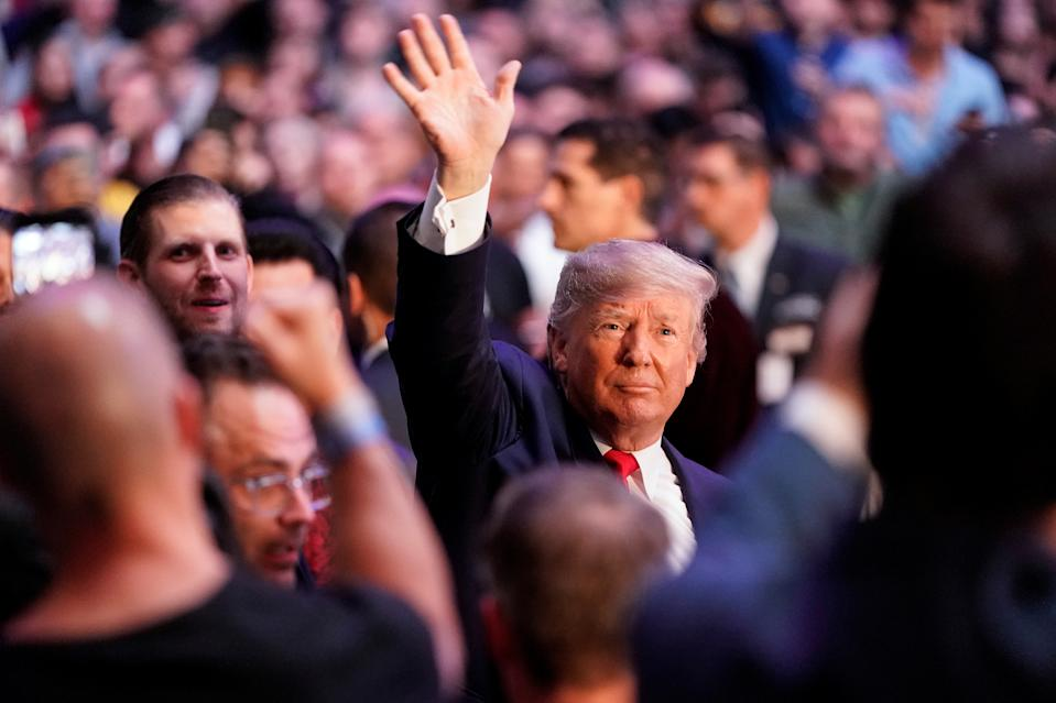 U.S. President Donald Trump waves as he arrives to watch a mixed martial arts fight in Madison Square Garden in New York, New York, U.S., November 2, 2019.      REUTERS/Joshua Roberts