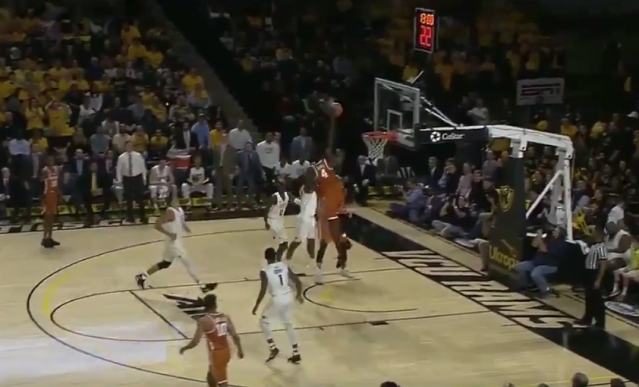 Mo Bamba nearly brought the ball to the top of the backboard. (Screenshot: ESPN broadcast)