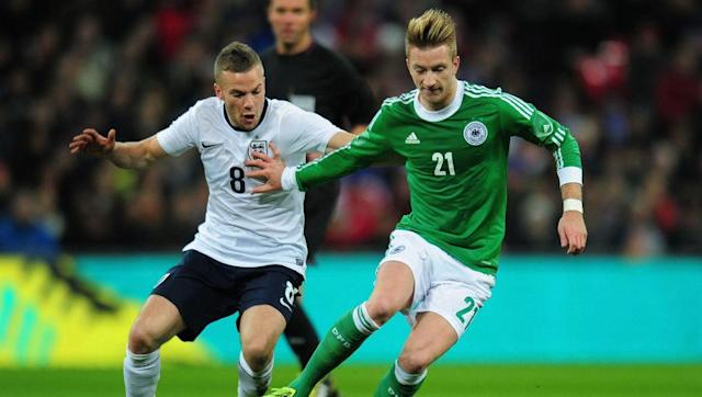 <p>In contrast to Gabby's derby debut, Tom Cleverley made the <em>last</em> of his 13 appearances against the Germans in a 2013 friendly.</p> <p><br> Back then, T-Clevz still had a chance to be the 'next big thing', and had even set a record for the most touches in an England game...albeit against San Marino.</p> <p><br> These days the Watford loan signing is about as likely to get a call up as Jake Livermore...oh wait.</p>