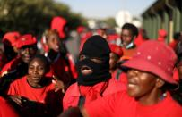 Members of the Economic Freedom Fighters (EFF) protest outside the Senekal magistrate's court
