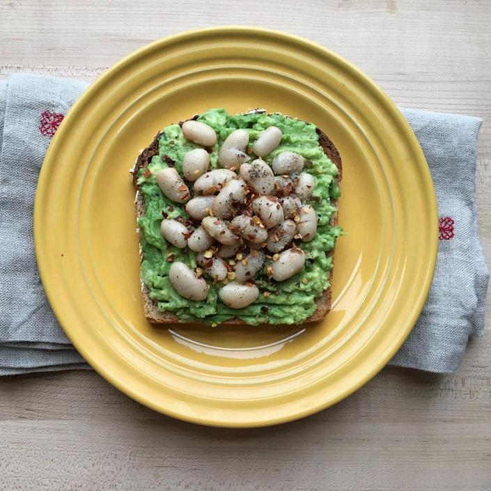 <p>Mashed avocado and white beans make for a fiber-rich and creamy topping, the perfect partner for a crispy slice of toast. Try it for a quick breakfast or snack.</p>