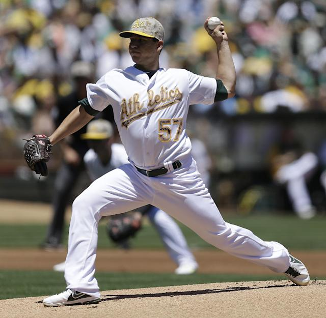 CORRECTS DATE TO 26 -Oakland Athletics' Tommy Milone works against the Detroit Tigers in the first inning of a baseball game Monday, May 26, 2014, in Oakland, Calif. (AP Photo/Ben Margot)