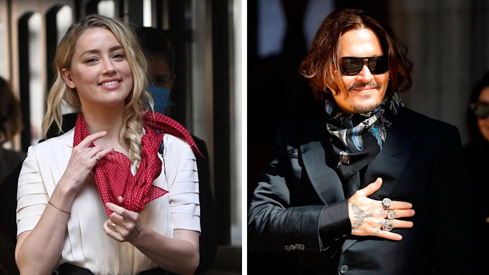 Composite pic of Amber Heard and Johnny Depp