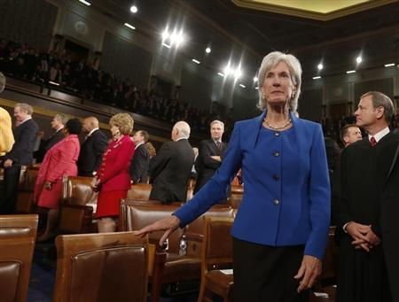 U.S. Department of Health and Human Services Secretary Kathleen Sebelius arrives before President Barack Obama's State of the Union speech on Capitol Hill in Washington