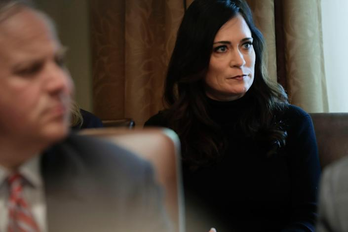 Then White House press secretary Stephanie Grisham during a Cabinet meeting at the White House, Oct. 21, 2019.