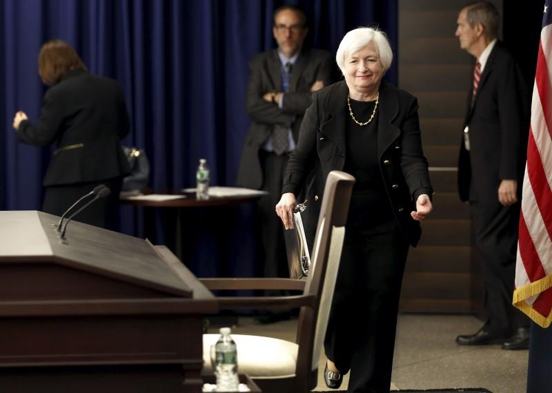 Yellen arrives for a news conference following the Federal Open Market Committee meeting in Washington