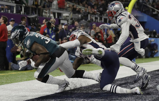 Corey Clement hauled in a controversial touchdown pass in Super Bowl LII. (AP Photo/Matt Slocum)