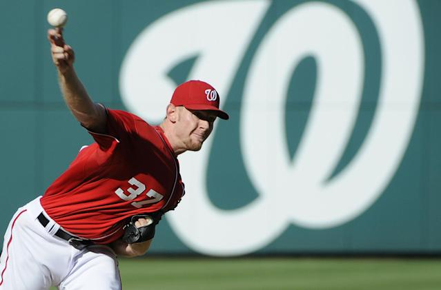 WASHINGTON, DC - JUNE 02: Stephen Strasburg #37 of the Washington Nationals delivers against the Atlanta Braves during the third inning of their game at Nationals Park on June 2, 2012 in Washington, DC. (Photo by Jonathan Ernst/Getty Images)