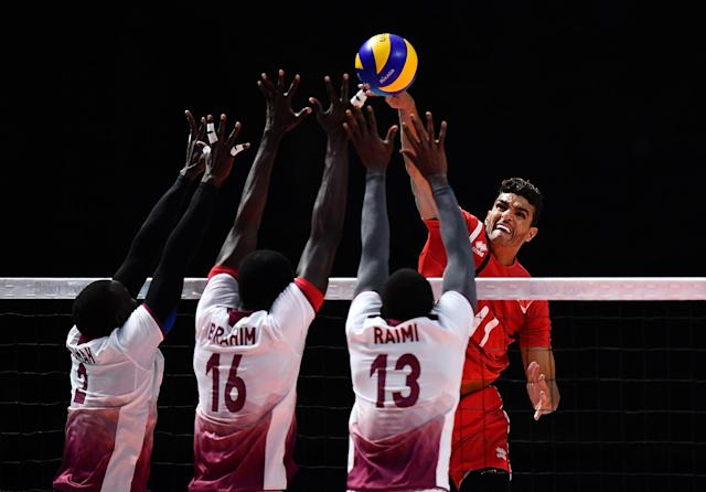 <p>Mohamed Al Hachdadi of Morocco spikes the ball in the Mens Volleyball Group B match between Qatar and Morocco during day eight of Baku 2017 at the 4th Islamic Solidarity Games on May 19, 2017 in Baku, Azerbaijan. (Photo: Dan Mullan/Getty Images) </p>